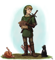 Link and the cats by Limeknight