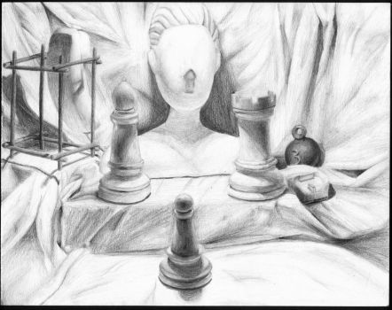 Still Life Of Some Dude With Chess Pieces and Such by sirlan