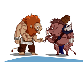 Fabulas - The Lion and the Boar by Dhemuth