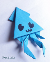 Blue Sticky-note Origami Squid by pecatrix
