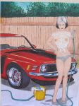 mustang and girl in wet t-shirt by waynemiller-jr