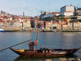 Rabelo boat, with Ribeira at the background by konceptsketcher