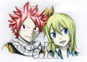 natsu and lucy with colour by velmoriart by vianleingod