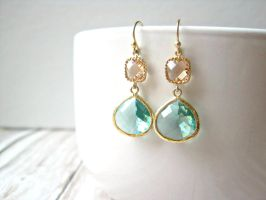 Peach and Aqua Green Gold Earrings by SparkleMeHappy