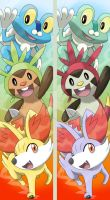Fennekin, Chespin and Froakie + SHINY Bookmarks by Cachomon