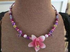 Orchid Upcycled Necklace by kukuramutta