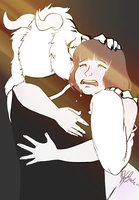 Asriel and Frisk (?) by Ty-urdor