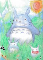 Watercolor-Totoro by CrispyGray