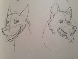 SPN Dogs - Crowley and Lucifer - Rouch Sketches by BanditKat