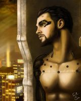 Adam Jensen  - The lone Wolf  (Deus Ex: HR) by Evil-Siren