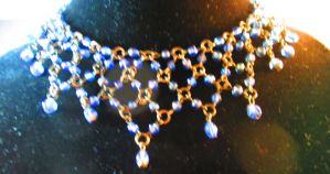 Blue Glass Bead Link Necklace by TANIYAS-TREASURES