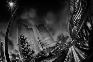 Winding Azrieli Towers  - BW by amassaf
