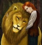 Kvothe vs. Aslan by Rainforestgoddess