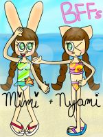 Mimi and Nyami at the beach [Pop'n Music] by the01angel