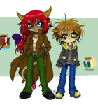 Kalexi and Noah lineart coloured by AngieMP