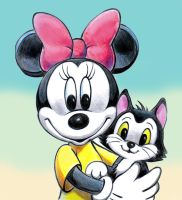 Minnie Mouse and Figaro by zdrer456