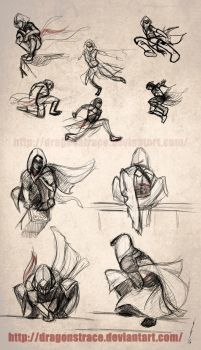 Assassins Creed sketches - I by DragonsTrace
