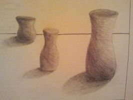 Intro to 2D Exam: Part IV: 3 Vases with Shading by IamKoji