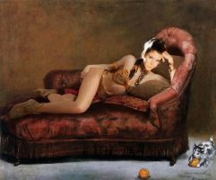 Young woman reclining in Tatooine costume by wintersixfour