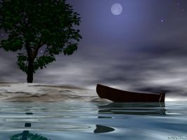 Marooned Boat and Tree by drumthrasher4hr