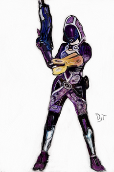 Tali'Zorah vas Normady Drawing by DjTrecool