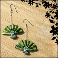 Green Origami Fan Earrings by ajesti