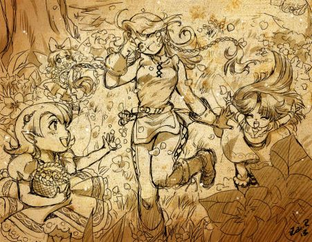 Playing in the forest sketch by Rolly-Chan
