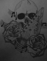 skull,guitar handle, music notes and roses by gbftattoos