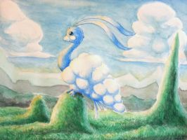 Altaria watercolor by Meneil666