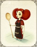 Girl holding really big spoon by Browning43