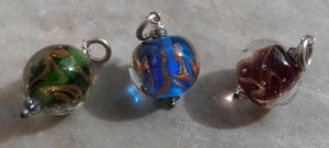 Summer storm bead pendant trio by fairyfrog