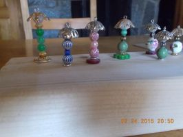 Lamps made with beads odds and ends. by SoberAngel2