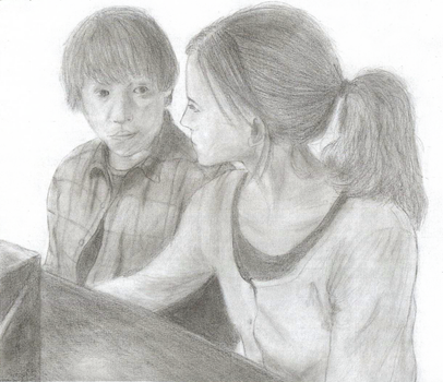 Ron and Hermione from DH1 by didimilenkova