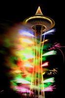 Space Needle Fireworks NYE by dsiegel