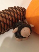 Curly Black Sheep Pendant ~ Gigi's pocket by LegibleGrub