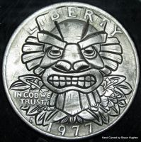 Tikki Carved Washington Quarter Hobo Nickel by shaun750