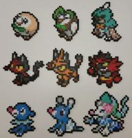 Pokemon Sun and Moon Starters Perlers by jrfromdallas