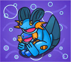 Swampert and Mudkip by NessStar3000