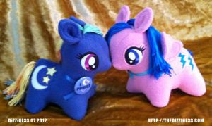 Pudgy Plushies: Nightlight and Firefly by dizziness
