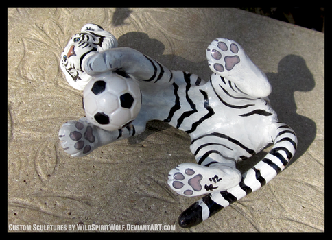 White Tiger And Soccer Ball Sculpture - Paws by WildSpiritWolf
