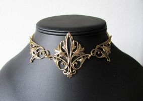 Elvish leaves golden chocker by yinco