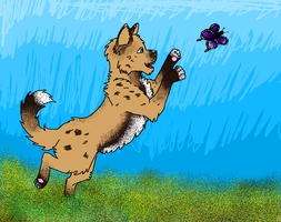 Puppy Chasing a Butterfly by Flautist4ever