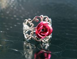 Dark Pink filigree ring 2 by AngelElementsEtsy