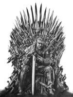 Ned Stark on the Iron Throne by like-allan-poe