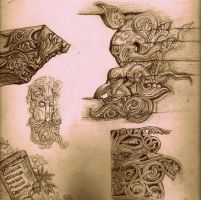 Norse Woodcarving Sketches by KaytlinBakerArt