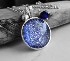 Cosmic Galaxy Dusty Purple Cabochon Necklace by crystaland