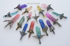 SOLD- Crystal Sword Charms by Ideationox