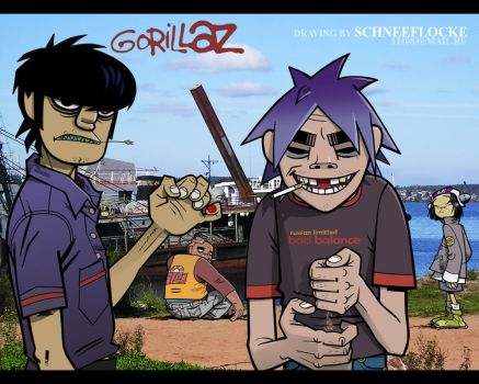 Gorillaz on seaside by iricolor