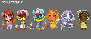 Commissioned Chibis: Set 1 by AudreyGreenhalgh