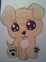 Goldie Puppy Drawing by My little sis Lexi by BebeKimichi